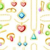 Reticolo senza giunte Metta di gioielli dorati Anelli, orecchini, catene e collezioni dorati delle collane Accessori dei gioielli royalty illustrazione gratis
