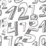 Reticolo senza giunte Numeri neri su un fondo bianco abbozzo Fotografia Stock