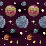 Reticolo senza giunte Pianeti, stelle e asteroidi su fondo porpora Royalty Illustrazione gratis