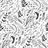 Reticolo senza giunte Rami e foglie disegnati a mano Immagini Stock Libere da Diritti