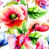 Reticolo senza giunte romantico con i fiori Fotografia Stock