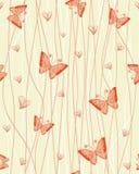 Reticolo senza giunte romantico con le farfalle illustrazione vettoriale
