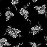 Reticolo senza giunte Segni i fiori col gesso bianchi di stile tirato sui precedenti neri piani illustrazione vettoriale