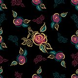 Reticolo senza giunte Stampa floreale rose mazzi decorativo Priorità bassa nera Vettore illustrazione di stock