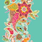 Reticolo senza giunte a strisce Bordo floreale decorativo royalty illustrazione gratis