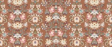 Reticolo senza giunte a strisce Carta da parati floreale Confine ornamentale variopinto illustrazione di stock