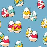 Reticolo senza giunte sveglio delle uova di Pasqua Fondo delle uova di Pasqua di scarabocchio Uova disegnate a mano di scarabocch illustrazione vettoriale