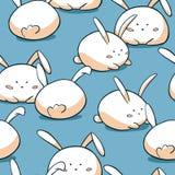 Reticolo senza giunte sveglio di Pasqua Fondo grasso dei conigli Caratteri disegnati a mano del coniglietto di scarabocchio illustrazione di stock