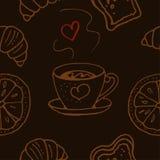 Reticolo senza giunte Tazza di caffè o tè Prodotti del forno Illustrazione Vettoriale