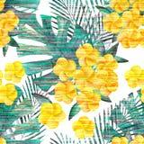 Reticolo senza giunte tropicale Fiori gialli, foglie di palma verdi su un bianco Fotografia Stock