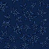 Reticolo senza giunte variopinto Rose blu marino disegnate a mano su fondo blu scuro Fotografia Stock Libera da Diritti