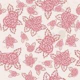 Reticolo senza giunte variopinto Rose rosa disegnate a mano su fondo beige Disegno dell'annata Fotografie Stock Libere da Diritti