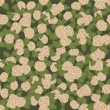 Reticolo senza giunte variopinto Rose rosa disegnate a mano su fondo verde Fotografia Stock