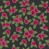 Reticolo senza giunte variopinto Rose rosse disegnate a mano su fondo scuro Retro disegno Fotografia Stock Libera da Diritti