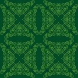 Reticolo senza giunte verde con gli elementi floreali Fotografia Stock Libera da Diritti