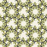 Reticolo senza giunte verde oliva Fondo disegnato a mano del ramo di ulivo Struttura decorativa verde oliva di vecchio modo per l Fotografia Stock