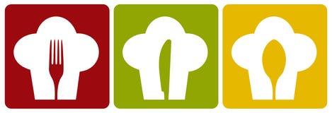 Reticolo stabilito del ristorante del cuoco unico dell'icona. illustrazione vettoriale