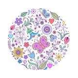 Reticolo variopinto disegnato a mano floreale Fotografie Stock Libere da Diritti