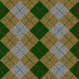 Reticolo verde, giallo, grigio del knitwork del tartan Fotografie Stock