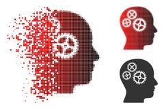 Reticulação Brain Gears Icon do pixel da poeira ilustração stock