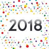 Reticulação colorida do estilo do vetor do ano novo feliz 2018 Imagem de Stock Royalty Free