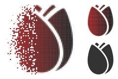Reticulação decomposta Tulip Bud Icon de Pixelated ilustração stock