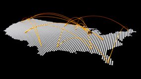 Reticulação do mapa dos EUA com conexão aérea da curva ilustração stock