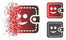A reticulação fraturada de Pixelated sorriu ícone da carteira ilustração stock