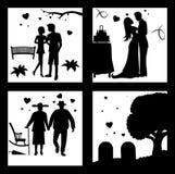 Retifique o amor até a silhueta da morte Ilustração do Vetor