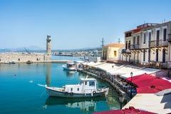 RETIMNO, KRETA, GRIECHENLAND JUNI 26 - 2017: Ansicht des Retimno-Hafens, Kreta, Griechenland Stockbilder