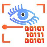Retina recognition flat icon. Eye identification and binary code color icons in trendy flat style. Biometric access. Gradient style design, designed for web and stock illustration