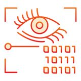 Retina recognition flat icon. Eye identification and binary code red icons in trendy flat style. Biometric access. Gradient style design, designed for web and vector illustration