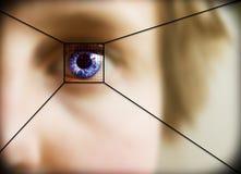 Retina Scan. Digital retina scan of a blue eyed woman Stock Images