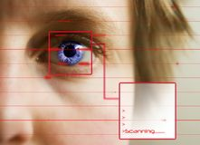 Retina Scan. Red lines scanning the face and retina of a woman with the word 'Scanning...' in a text box Royalty Free Stock Photography