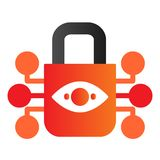 Retina scanning lock flat icon. Eye idendification and padlock color icons in trendy flat style. Retina biometric scan. Gradient style design, designed for web vector illustration