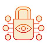 Retina scanning lock flat icon. Eye idendification and padlock red icons in trendy flat style. Retina biometric scan. Gradient style design, designed for web stock illustration