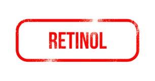 Retinol - czerwona grunge guma, znaczek ilustracji