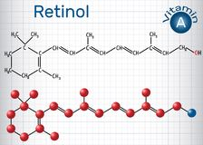 Retinol, vitamin A, is in food and used as a dietary supplement. Structural chemical formula and molecule model. Sheet of paper in a cage. Vector illustration Royalty Free Stock Photo