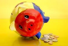 Retirada de banco Piggy Fotos de Stock Royalty Free
