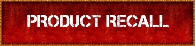 RETIRADA DE PRODUCTOS apenada del texto de la fuente en backgrou rojo del tablero del grunge stock de ilustración