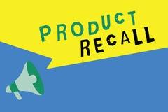 Retirada de productos del texto de la escritura de la palabra Concepto del negocio para la petición de una compañía de volver el  stock de ilustración