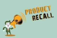 Retirada de productos de la escritura del texto de la escritura Petición del significado del concepto de una compañía de volver e stock de ilustración