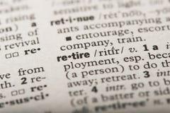 Retire in dictionary vector illustration