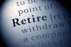 Retire. Fake Dictionary, Dictionary definition of the word Retire Royalty Free Stock Photos