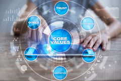 Retire o núcleo do negócio dos valores e do conceito da tecnologia na tela virtual foto de stock royalty free