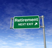 Retire Senior Adult Freedom Retirement. Retirement Freeway Exit Sign representing an isolated highway street symbol with green signage Stock Photos