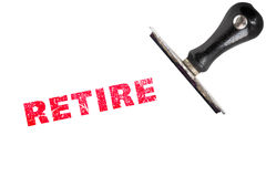 Retire stamp text. With stamper Royalty Free Stock Photo