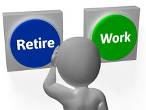 Retire Work Buttons Show Job Or Retired Stock Image