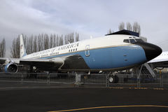 Retired air force one. Museum of flight, Seattle, Washington, USA-January 12, 2012: a retired Boeing 707 air force one presidential air plane on display Royalty Free Stock Photo