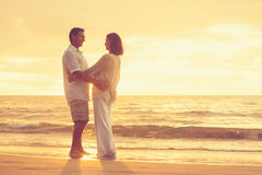 Retired Couple on the Beach Royalty Free Stock Image